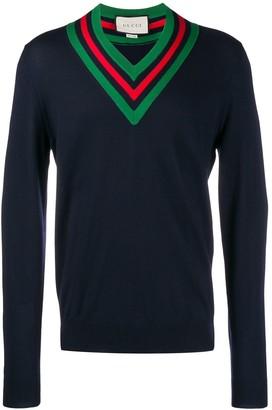 Gucci Web v-neck jumper