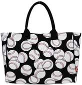 Baseball Print NGIL Large Canvas Overnight Tote Bag