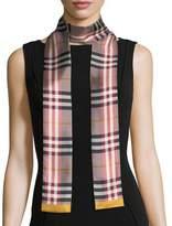 Burberry Castleford Check Silk Skinny Scarf, Rose