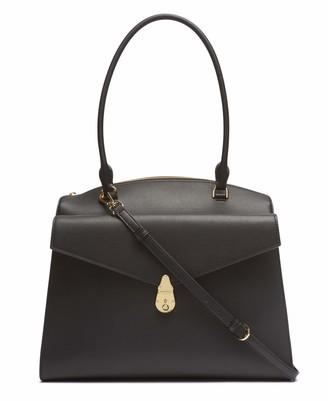 Calvin Klein Women's Lock Daytona Leather Large Statement Satchel Bag