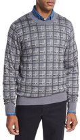Brioni Cashmere-Silk Box Jacquard Sweater, Light Gray