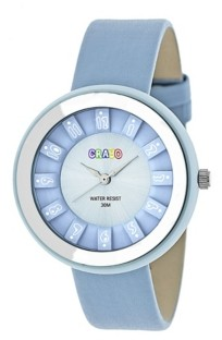 Crayo Unisex Celebration Powder Blue Genuine Leather Strap Watch 38mm