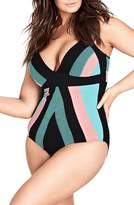 City Chic Summer Splice One-Piece Swimsuit