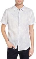 John Varvatos Men's Collection Slim Fit Print Linen Sport Shirt