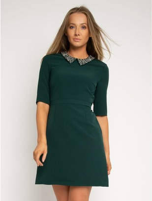 M&Co StylistPick woven dress with bead collar