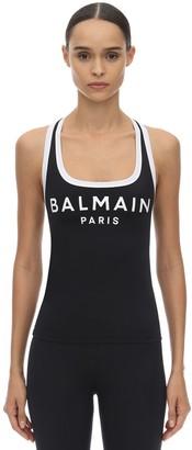 Balmain Logo Print Lycra Tank Top