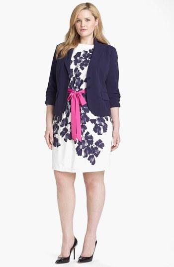 Eliza J Sheath Dress & Blazer (Plus Size) Navy 22W
