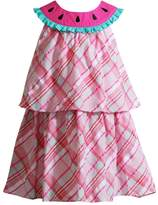 Youngland Toddler Girl Plaid Watermelon Popover Dress