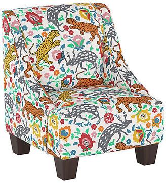 One Kings Lane Fletcher Kid's Chair - Orange Leopard - Espresso/Orange Leopard
