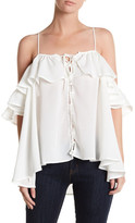 Lucca Couture Lace-Up Cold Shoulder Blouse
