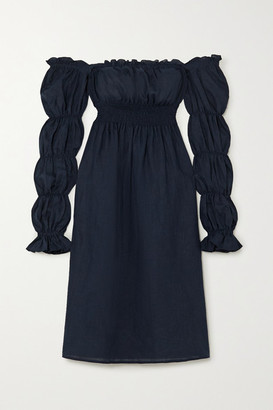 Sleeper Off-the-shoulder Shirred Linen Midi Dress - Navy