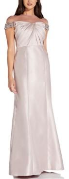 Adrianna Papell Illusion Mikado Gown