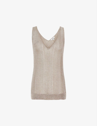 Reiss Alice metallic woven vest top