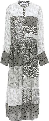 Hofmann Copenhagen Patchwork-effect Printed Georgette And Silk Crepe De Chine Midi Dress