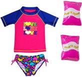 Jump N Splash Toddler Girls' Triple Love TwoPiece Short Sleeve Rashguard Set w/ Free Floaties (2T-3T) - 8143060
