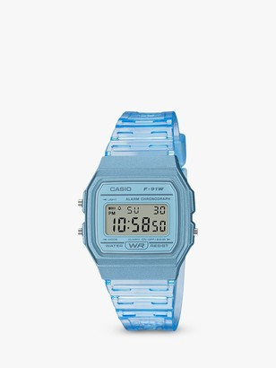 Casio F-91WS-8EF-SS Unisex Vintage Digital Bracelet Strap Watch, Blue/Grey