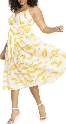 ELOQUII Sleeveless Fit & Flare Linen Blend Midi Dress