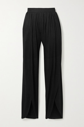 Marika Vera Molly Draped Stretch-jersey Wide-leg Pants - Black