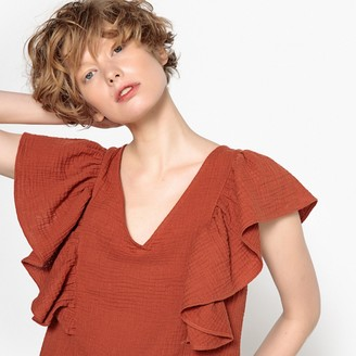 La Redoute Collections Ruffled V-Neck Blouse
