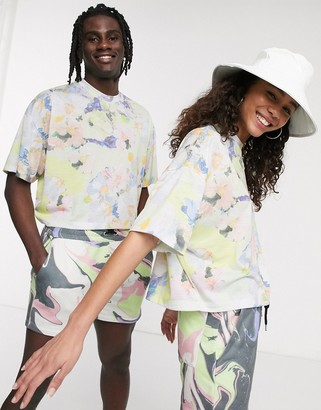 Asos DESIGN x glaad& unisex two-piece cropped t-shirt with floral print
