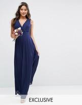 TFNC WEDDING Pleated Wrap Maxi Dress
