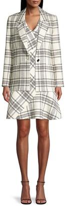 Tailored Windowpane Plaid Tweed Dress