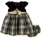 Bonnie Jean Bonnie Baby Baby Girls Newborn-24 Months Christmas Plaid Taffeta Dress & Cardigan Set