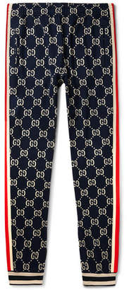 Tapered Striped Logo-Intarsia Cotton Track Pants