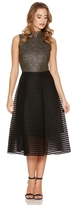 Quiz Black Mesh Ribbed Midi Skirt