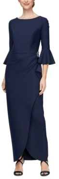 Alex Evenings Scuba Bell-Sleeve Gown