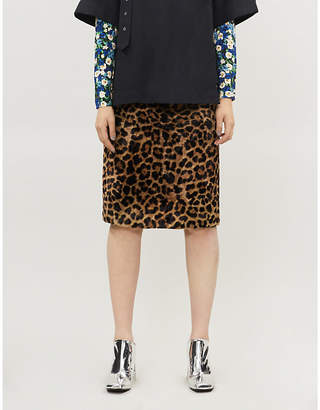 Rokh Leopard-print textured cotton-blend midi skirt