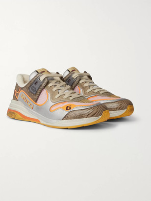 Gucci Ultrapace Metallic And Lizard-Effect Leather, Mesh And Distressed Suede Sneakers