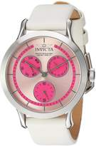 Invicta Women's 'Angel' Quartz Stainless Steel and Leather Casual Watch, White (Model: 22494)