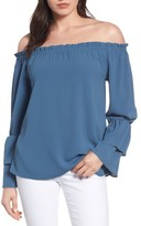 Bobeau Women's Tiered Bell Sleeve Off The Shoulder Top