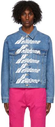 we11done Blue Denim Front Logo Jacket