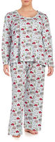Carole Hochman Plus Size Cotton Jersey Christmas-Print Long-Sleeve Top and Pants Pajama Set
