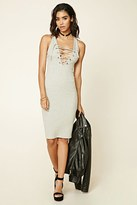 Forever 21 FOREVER 21+ Ribbed Lace-Up Front Dress