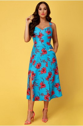 Goddiva Vicky Pattison Azure Floral Strap Tea Dress with Slits