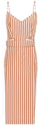 Victoria Beckham Striped Cotton-poplin Midi Dress