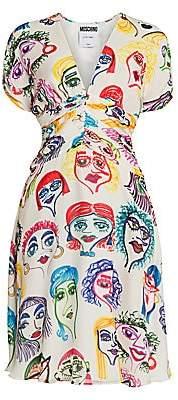 Moschino Women's Face Print Silk A-Line Dress