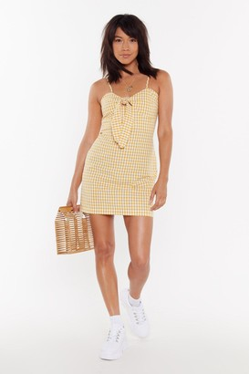 Nasty Gal Womens Gingham Bow Front Mini Dress - yellow - 10