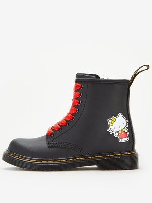 Dr. Martens Girls 1460 Printed Hello Kitty 8 Lace Boot - Black