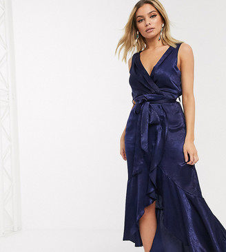 Flounce London satin wrap front midaxi dress in navy