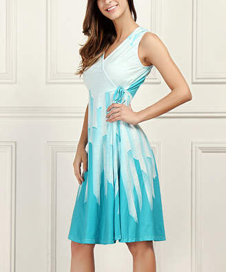 Reborn Collection Women's Casual Dresses Aqua - Aqua Abstract Sleeveless V-Neck Wrap Dress - Plus