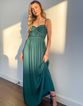 ASOS DESIGN Premium cami pleated maxi dress with trim detail in forest green