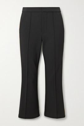 Area Cropped Crystal-embellished Ponte Flared Pants - Black