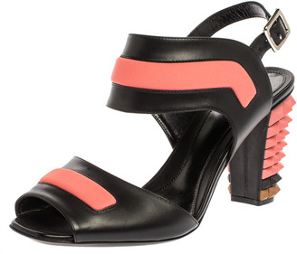 Fendi Black/Pink Leather Polifonia Studded Ankle Strap Sandals Size 40.5