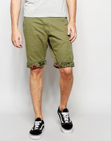 Threadbare Printed Hem Chino Shorts