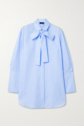 Akris Pussy-bow Striped Cotton-poplin Shirt - Blue