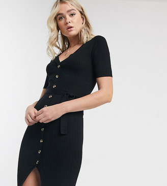 Brave Soul Tall dallas midi jumper dress with button through-Black